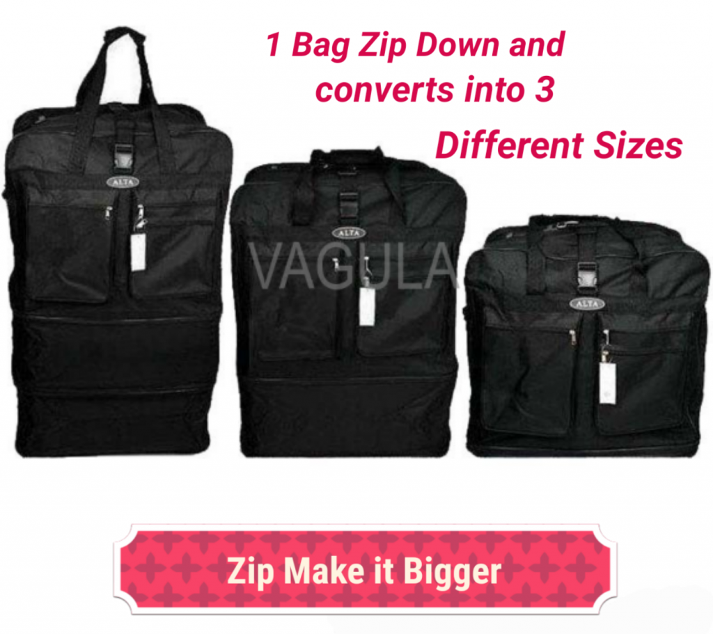 Our Expandable Collapsible Bag converts into 3 different sizes