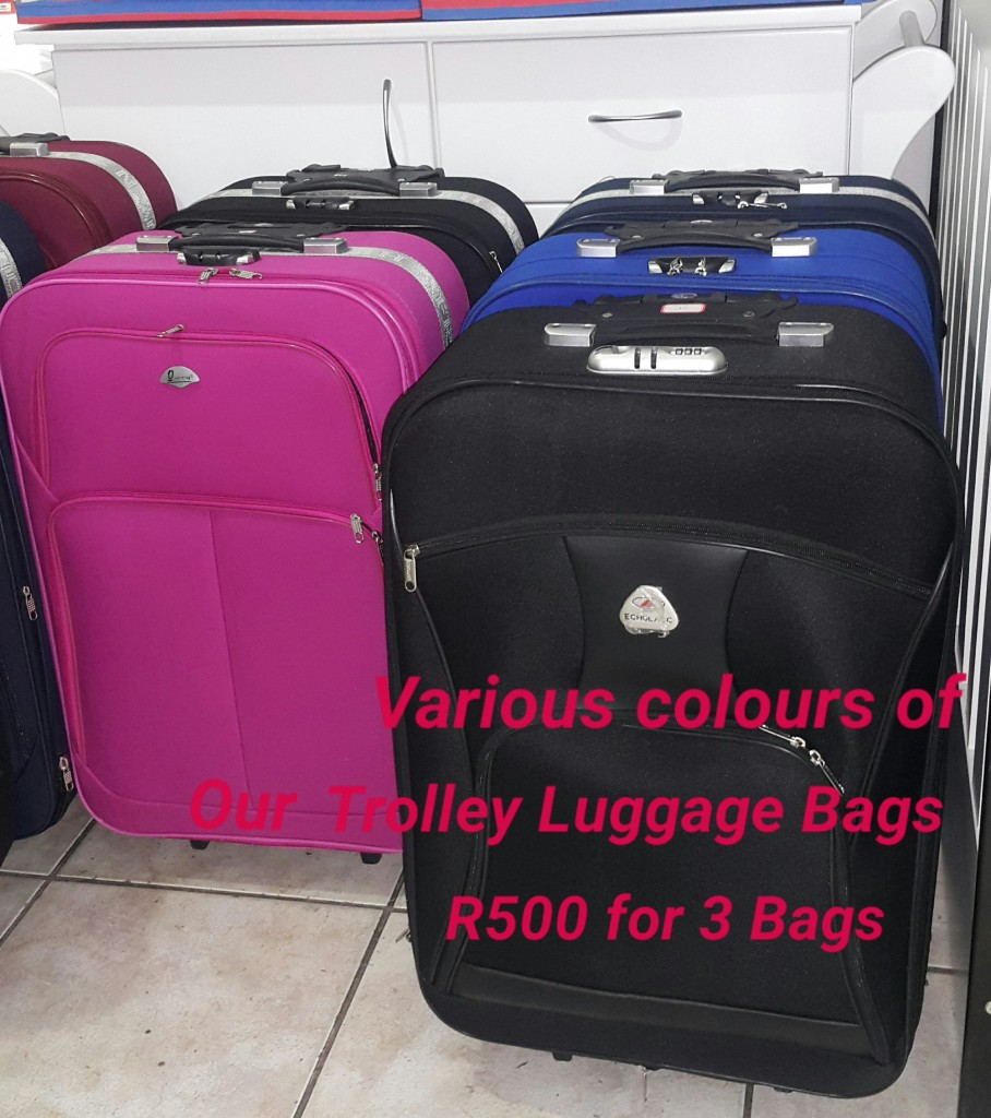 Various Colours of our Standard Luggage Sets R500 for 3 Bags